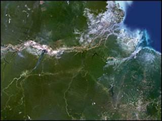 Foto de satélite da região amazônica