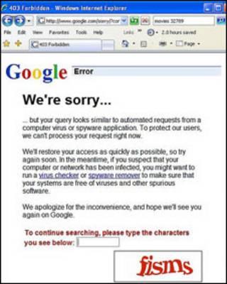 Mensagem de erro do Google (reprodução)