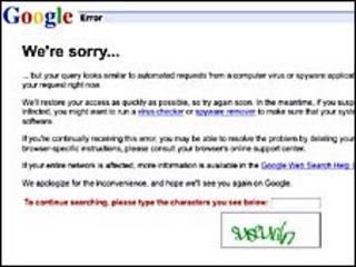 Página de error de google