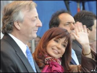 Casal Kirchner durante comício