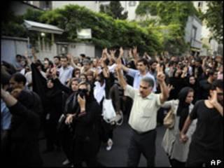 Manifestación a favor de Mousavi en Teherán.