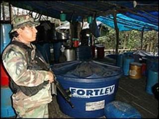 El laboratorio de cocaína hallado en Santa Cruz (crédito: MInisterio de Gobierno).
