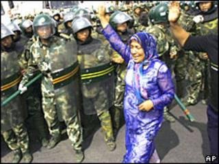शिनजियांग की राजधानी उरुमकी में प्रदर्शन