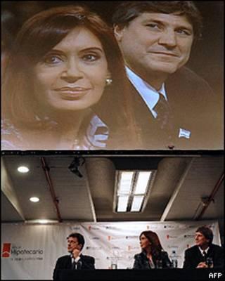 Cristina Fernández, con el nuevo ministro argentino de economía, Amado Boudou