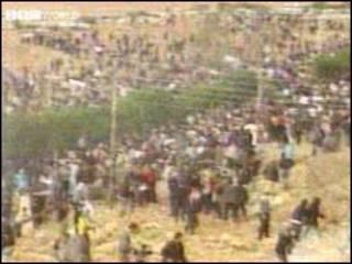 مظاهرات على معبر اللنبي (صورة أرشيفية)