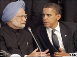Singh, da Índia, e Obama, dos EUA