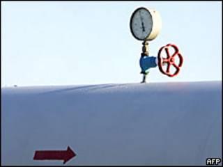 Válvula sobre un ducto de gas