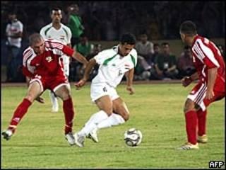 مباراة أربيل بين المنتخبين العراقي والفلسطيني