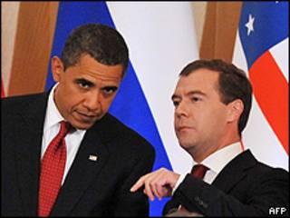 Barack Obama y Dmitry Medvedev en el Kremlin / Foto de archivo
