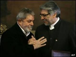 O presidente do Paraguai, Fernando Lugo, e do Brasil, Luiz Inácio Lula da Silva