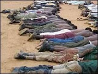 Homens detidos pela polícia em Bauchi, na Nigéria