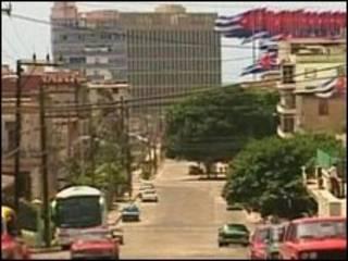 Vista da missão dos EUA em Havana. Foto: Reuters TV