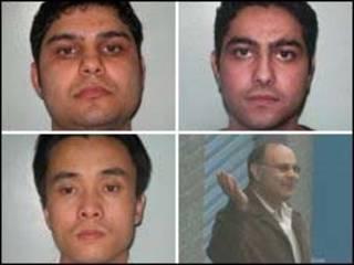 do alto à esquerda: Sami, Rafi,Khalid e Xin Li