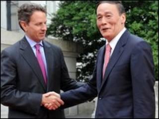 Bộ trưởng Ngân Khố Mỹ Tim Giethner và phó thủ tướng Trung Quốc Vương Kỳ Sơn