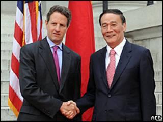 Timothy Geithner y Wang Qishan