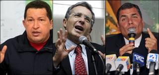 De izq. a der.:Hugo Chávez, Álvaro Uribe y Rafael Correa.