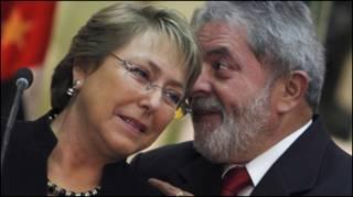 Lula e Bachelet em São Paulo, julho de 2009