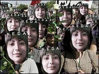 پوستر ندا در تظاهرات ایرانیان پاریس