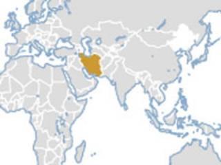 Mapa indicando localização do Irã