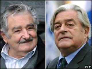 Candidatos José Mujica y Luis Alberto Lacalle