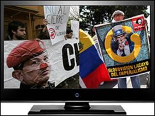 Televisión con imágenes a favor y en contra de Chávez