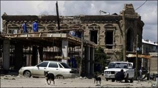 Một tòa nhà bị phá hủy ở Nam Ossetia