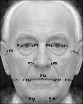 Imagem composta por 50 fotografias amalgamadas mostrando pontos usados para medir a simetria facial dos participantes