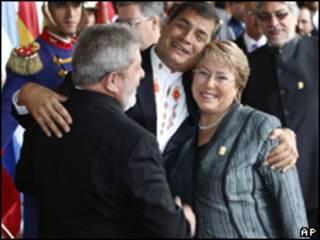 Luiz Inácio Lula da Silva, Rafael Correa e Michelle Bachelet. Foto: AP