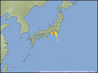 Localização do terremoto no Japão. Foto:  © Japan Meteorological Agency