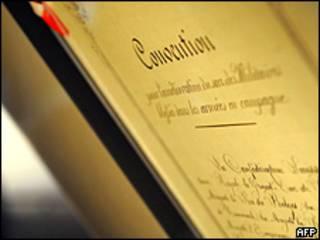 Original de la Convención de Ginebra de 1864.