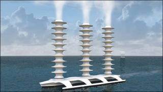 Barco que lanza gotas de agua a las nubes