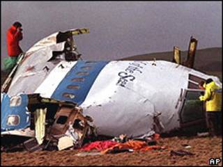 Atentado contra un avión de la Pan Am en Lockerbie, 1988.