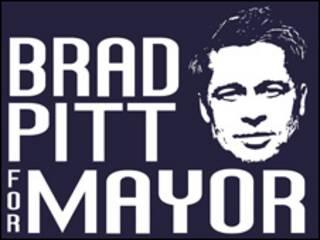 Logo Brad Pitt para alcalde. Cortesía: Story Ville.