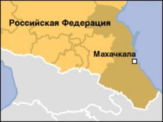 Карта Северного Кавказа с выделенной территорией Дагестана