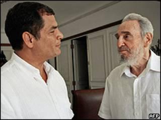Rafael Correa y Fidel Castro