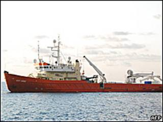 Barco de rastreo en las Islas Comoras.