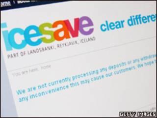 Сайт банка Icesave
