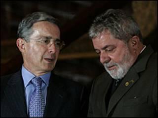 Alvaro Uribe e Luiz Inácio Lula da Silva