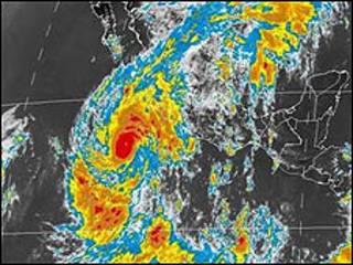 Imagen satelital del huracán Jimena