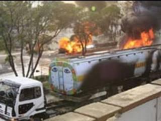 آتش سوزی کامیون های ناتو