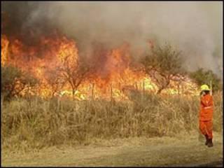 Fuego en la provincia de Córdoba, Argentina