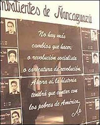 Mural recordatorio de los que combatieron al lado del Che en Bolivia