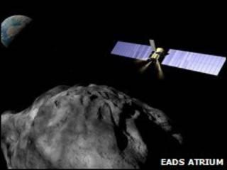 Ilustración de nave interceptando un asteroide