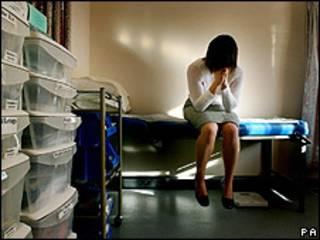 Mujer víctima de una violación