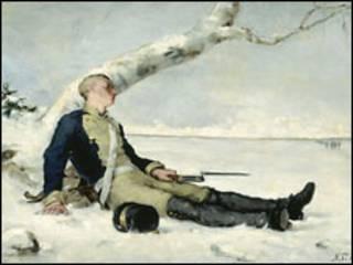 """Раненый солдат на снегу"" (Хелена Шерфбек, 1880 г.)"