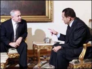 بنيامين نتنياهو وحسني مبارك