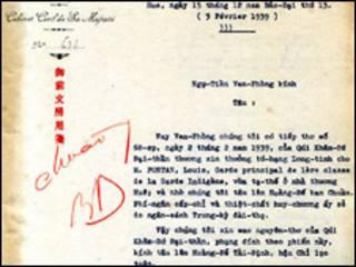 Châu bản có bút tích của vua Bảo Đại