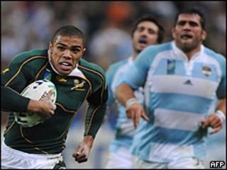 Equipo argentino de rugby. Foto de archivo