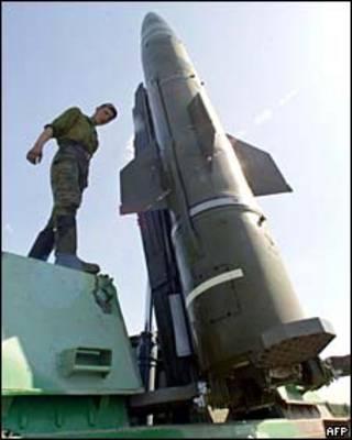 Misil ruso cerca de Kaliningrado, foto de julio de 2004