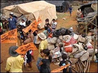 Campamento guaraní en Mato Grosso